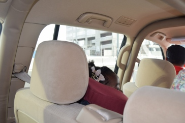 The youngest in her car seat